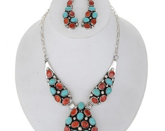 Turquoise Shell Silver Navajo Necklace Set French Hook Earrings