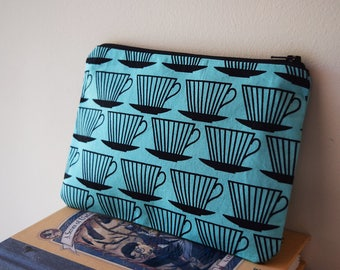 Teal Teacup Pencil Case / Pouch