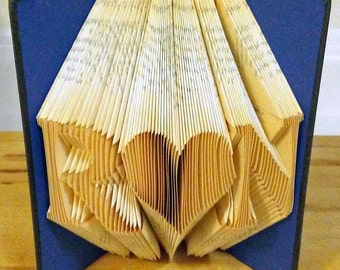 Folded Book Art, Choose Text, Anniversary, Love, Heart, Initials, Family, Fold Book Art, Book Folding, Custom, Personalized, Unique Gift