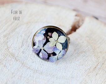 Terrarium jewelry, Real flower ring, Hydrangea Ring, Botanical resin ring, Forest jewelry, Nature resin ring, Adjustable ring,Botanical Ring