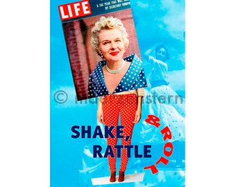 "Postcard ""shake, rattle and roll"" (30), greeting card, birthday card, points, women, dance, polka dots, blue sky, funny"