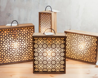Lamps with boxes of wine recycled and metal