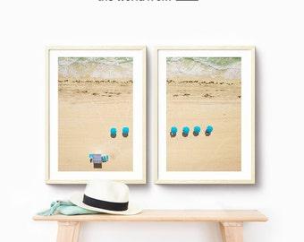 Framed 2-Piece Set, Miami Beach Aerial Beach Photography, Large Wall Art Decor, Fine Art Photography, Art Prints, Umbrellas