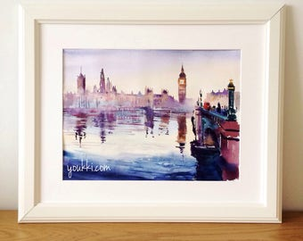 London. Big Ben. Original watercolor painting