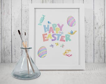 Pastel Watercolour Happy Easter Printable, Children Easter Party, Easter Eggs, Spring, Download, Digital Print, Wall Art, Home Decor, Card