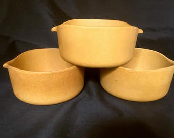 3 Bennington Potters Vermont Gold Mustard Yellow Bowls David Gil  #1641