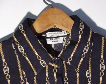 Vintage Women's Blouse Celine Paris Italian Size Small Size 40 1970's Horsebit Chain Pattern Rare