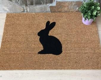 Spring Doormat, Spring Decor, Easter Home Decor, Easter Bunny, Rabbit Decor, Welcome Mat, Garden Decor