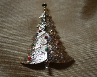 Signed B.J. Vintage Christmas Tree Brooch with red rhinestone J2-018