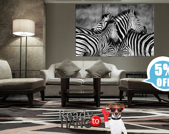 Zebra, black and white art, zebras family, zebras canvas family, striped horse, Zebras in a field, zebra canvas, Zebra Canvas Print