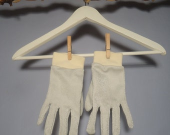 True vintage 70s gloves glitter disco silver Lurex silver cream-white glitter Studio 54