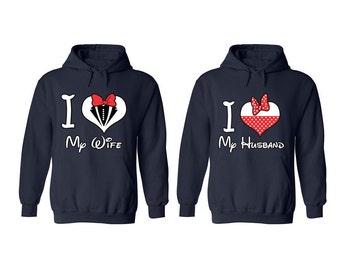 I Love My Wife I Love My Husband Couple Hoodies Couple Gift Couple Clothing Cute Couple Sweatshirts Matching Anniversary Matching Shirts