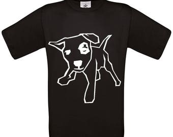 Kids Black Cotton Tshirt with Playful Pup Printed in Eco Friendly Crisp White Ink