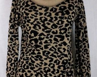Cowl neck Cheetah Sweater, Cotton Emporium, Vintage, Size L