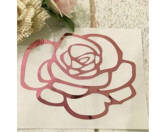Rose decal, Foil rose decal, Rose laptop decal, Rose Yeti decal, Foil tumbler decal, Rose monogram decal, Rose vinyl decal