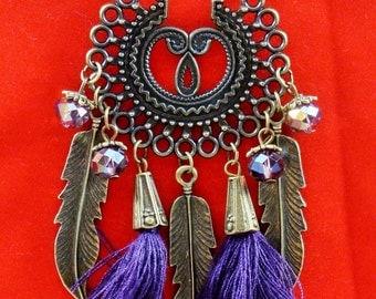 Antique Bronze Feather Pendant