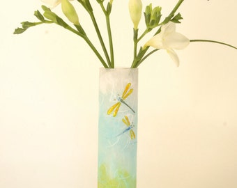 Dragonfly bud vase - tall slim vase with sparkly dragonflies handpainted on strawsilk spring colours - strawsilk glass by Karen Keir