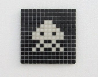 Original Space Invaders mosaic wall art; vintage arcade game; vintage video game; glass mosaic; wall art.
