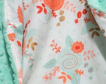 Coral mint baby blanket coral nursery mint baby bedding girl blanket coral bedding toddler girl blanket mint coral