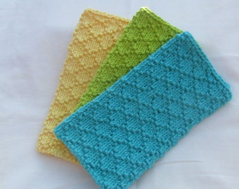 Hand knit washcloths/spa cloths Set of Three