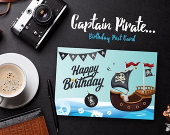 Captain Pirate Post Card, Birthday Invitation Card, Baby Shower  — Digital Print