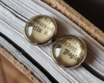 Earrings rings earrings studs newspaper black sign letters words cabochon jewelry jewerly