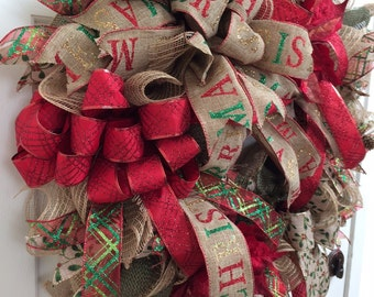 ON SALE - Rustic Bling Burlap Deco Mesh Christmas Wreath, Winter Wreath, Burlap wreath