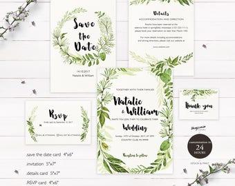 Printable Wedding Invitation Set Watercolor Branches Wedding Invites set Instant Wedding Invitation Template Set Wedding Invite Set