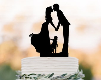 Family Wedding Cake topper with girl, wedding cake toppers silhouette, funny wedding cake toppers with child Rustic edding cake topper