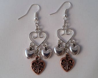Hearts For You - Dangle Drop Earrings - Silver And Antique Rose Gold In Color