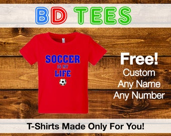 salesale Soccer birthday tshirt - soccer party shirt - trendy number and lettering - pick any number.