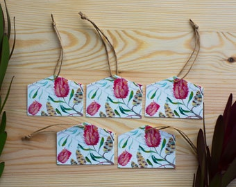 5pack Red banksia watercolour, Australian Native flora, eco-friendly bamboo paper gift tags