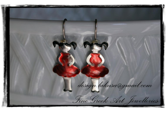 Red Enamel Girl little Princess Earrings Sterling Silver white gold plated Jewelry Handmade quality fine greek art best ideas gifts woman