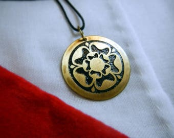 Tudor Rose Brass Pendant