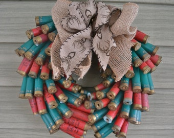 Father's Day Gift - Shotgun Shell, Burlap, Buck Deer, Red & Green Wreath Wall Hanging