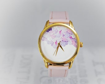 Feathers Watch Cute Watch Gift For Her Women Watches Anniversary Gift For Girlfriend Bridesmaid Gift For Mom Pink Watch Band Watch Strap