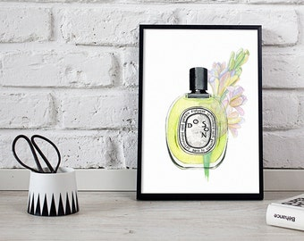 Diptyque perfume, perfume print, watercolour illustration  - 2 sizes available Giclee print