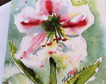 Amaryllis Flower Watercolor Notecard