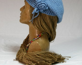 Knitted wool hat; Designer Beret - 0010;