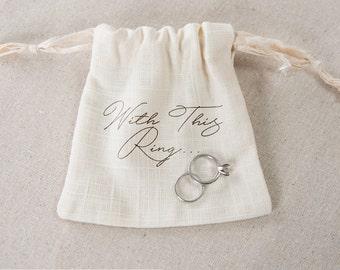 Linen Ring Bag, Wedding Ring Bag, Ring Pillow Alternative, Linen wedding ring bag, custom ring bag