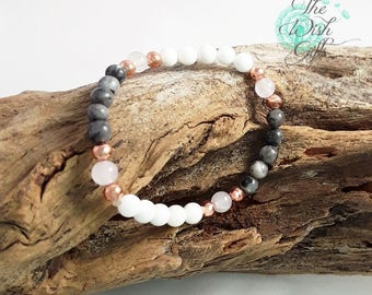 Handmade Fertility, Anxiety Bracelet, Rose Quartz, Labradorite, Coral, Rose gold beads - IVF, TTC, ICSI Gift