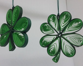 """Quilled """"Luck of the Irish"""" Shamrock or 4 Leaf Cover Ornament. Free Gift Package Inlcuded."""