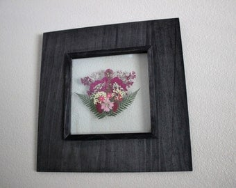 Framed Pressed Flowers- Pink and White