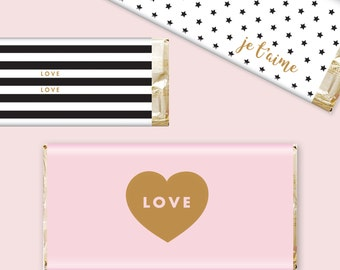 Chocolate Bar Wrapper Candy Wrapper Love Jetaime Valentines Stripes DIY Printable Digital Downloadable Instant