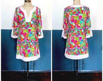 Vintage *90s does 60s* Psychedelic Mod A Line GoGo Hippie Girl Stretch Mini Dress - Size Medium