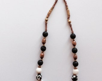 Lovely black and white Krobo necklace