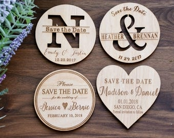 Wood Save-the-Date Magnets, Heart Magnets, Wooden Save the Date Magnets, Wedding Save the Date Magnets, Rustic Save the Date, Wedding Invite