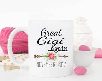Great Gigi AGAIN Mug, Pregnancy Reveal to Great Mimi, Gift for new grandma, Gigi Coffee Mug, Pregnancy Reveal, Gift for mom, Gigi Mug