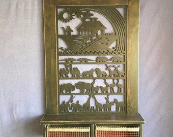 "Noah""s Ark Decorative Shelf with wire basket drawers"