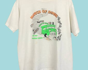 90s March of Dimes Cream and Neon T-Shirt